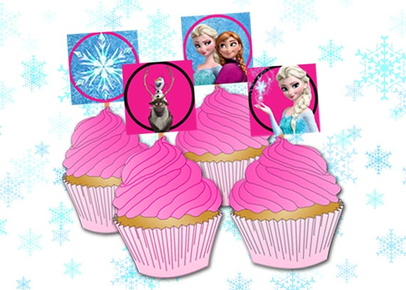 Awesome Frozen Cupcake Toppers Printables Frozen Party Decorations Etsy Funny Birthday Cards Online Inifodamsfinfo