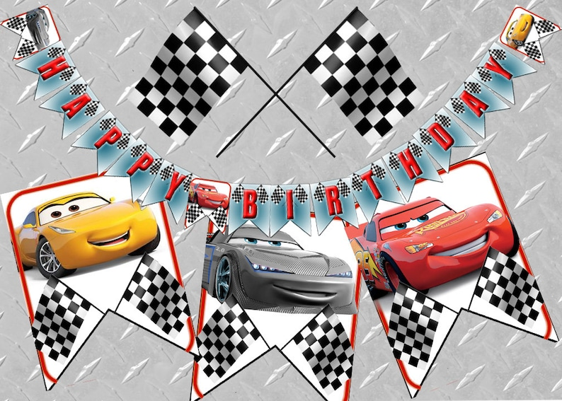 CARS 3 BIRTHDAY BANNER Printable Digital Cars Birthday