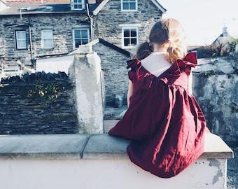 Cotton Frill back pinafore dress, girls summer dress, toddler cotton pink burgundy sundress, pinafore, girls party birthday dress, sibling