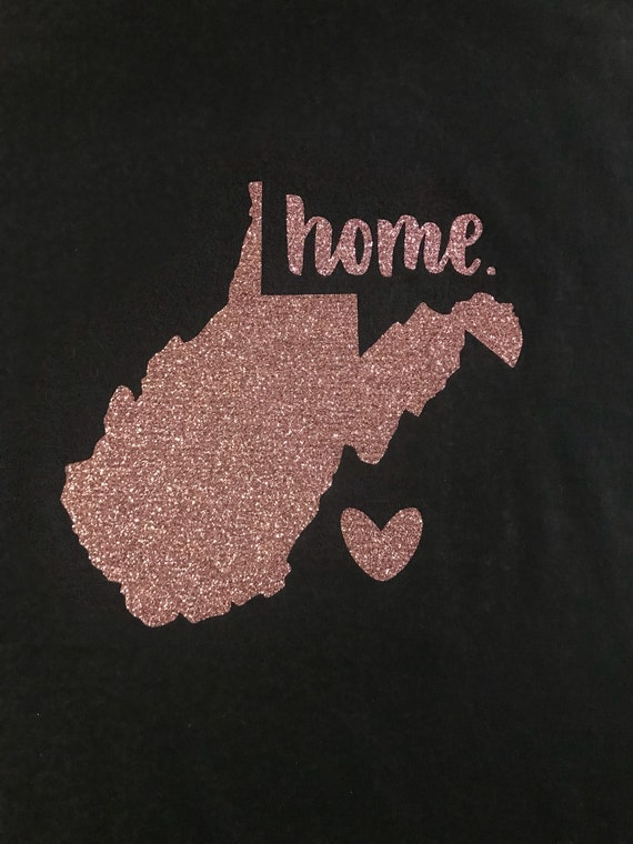 West Virginia Home Rose Gold Glitter Tee