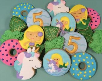 Unicorn- Mermaid- Pool Party- Birthday- Custom Cookies