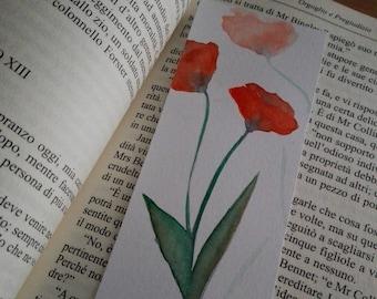 Flower Bookmark,  Poppy Bookmark, Watercolor Bookamark, Mary Alice Art, MaryAlicesGallery