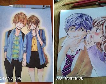 Stand Up!, Ao Haru Ride, shoujo, art print, traditional art, Manga illustrations, Mary Alice art