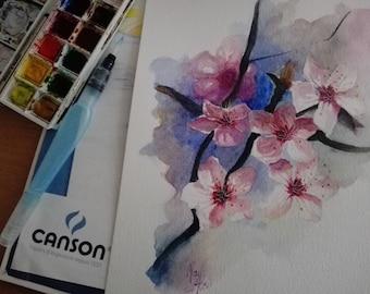 Sakura, Cherry Blossom, Watercolor painting, Flower, MaryAlice, MaryAlicesGallery