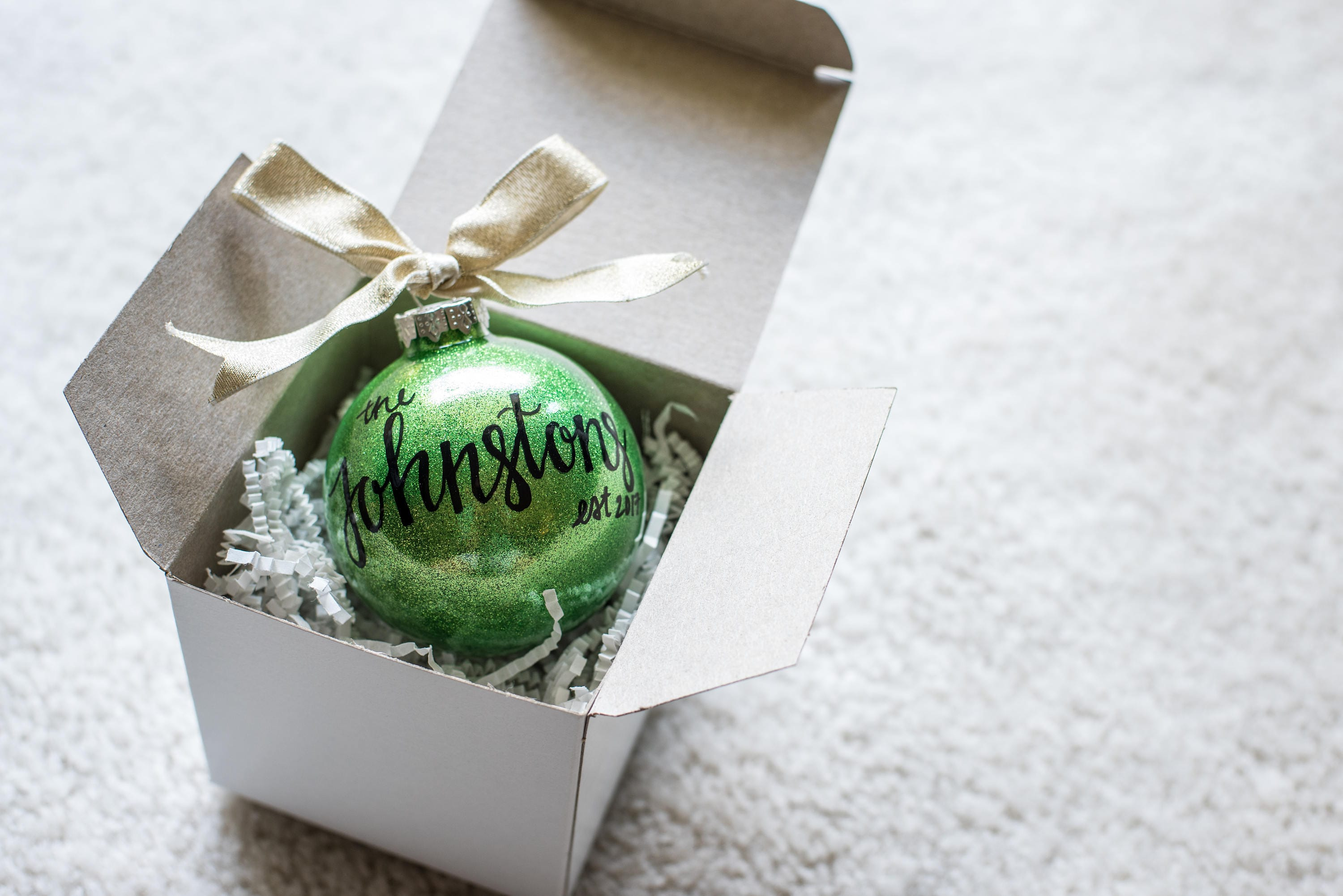 Last Name Christmas Ornament. Hand Lettered Personalized