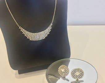 Stunning Vintage Diamante Rhinestone Necklace and Earrings Set Featuring Beautiful Delicate Detailing