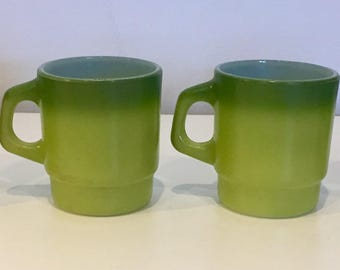 Fire King Ware Coffee Mugs Set of 4 Funky Retro 1970s Two Tone Green