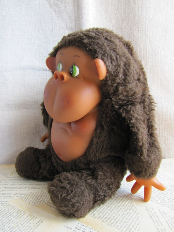 Large Vintage Plush Gorilla With Rubber Face Hands Belly 1970s Etsy