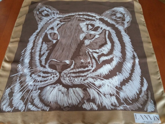 Seventies LANVIN Paris Tiger Print Square Silk Sca