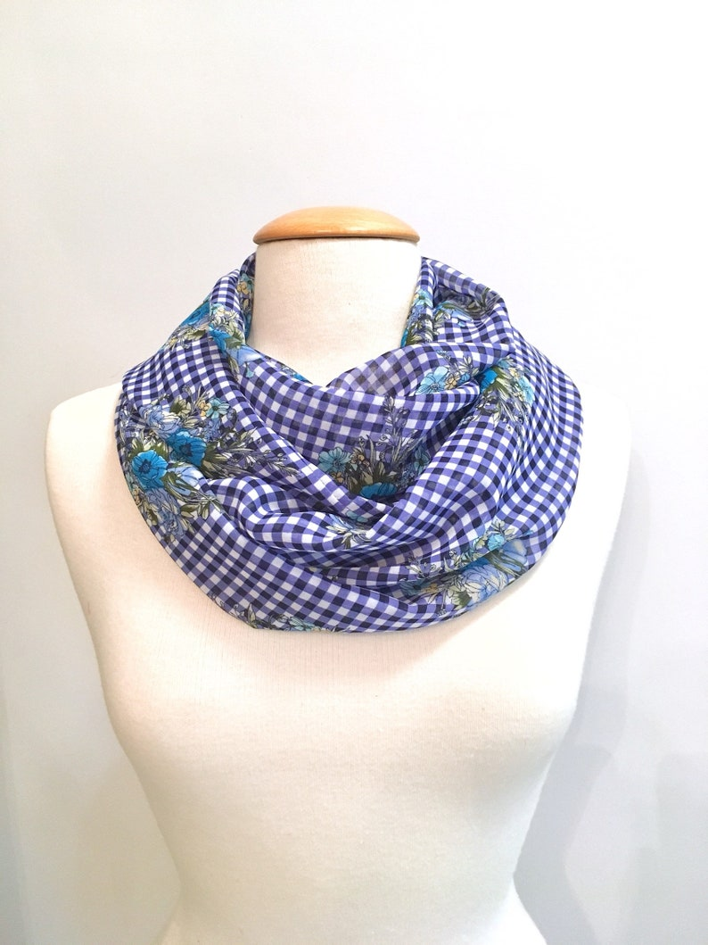 98cc345d916 Navy Blue and White Gingham and Floral Infinity Scarf, Sheer Women's Scarf,  Mother's Day Gift, Spring Scarf, Summer Scarf, Gift for Mom