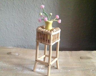 Flower stand made of rattan for the doll's house