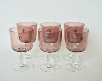 HANDMADE MULBERRY GOBLETS - Vintage hand blown glassware with one-of-a-kind purple hues