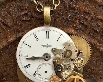 Copper Antique Clock Gear Necklace