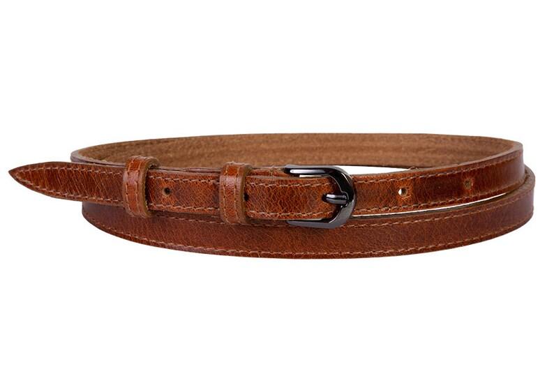 581ce61a844a5 Tan pantalon ceinture marron en cuir naturel, accessoire de femmes, la  ceinture de ceinture fine en cuir véritable taille pleine fleur, robe ...