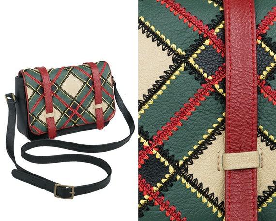 df1ab61377 Leather crossbody tartan purse small messenger red green