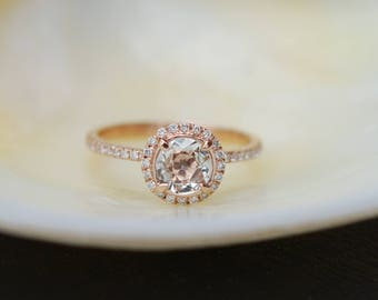 Engagement Ring Promise ring Round Engagement Ring Peach Sapphire Engagement ring rose gold ring by Eidelprecious FREE Shipping