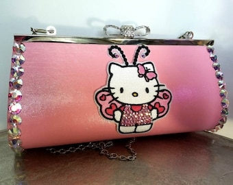 Hello Kitty purse. Hello Kitty. Clutch. Hand clutch. Hello Kitty bag.  Special occasion purse. Pink clutch purse. Butterfly purse b822b1952432c