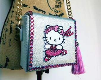 6f32ec41be Hello Kitty purse. Ballerina purse. Hello Kitty. Gift for her. Crossbody bag.  Unique purses. Hello Kitty bag. Small Hello Kitty purse