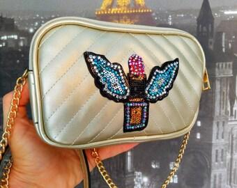 eab508a41d60 Rockabilly flying lipstick purse. Crossbody bag. Rose purse. Lipstick purse.  Gold purse Rockabilly purse. Retro inspired purse. Unique purse