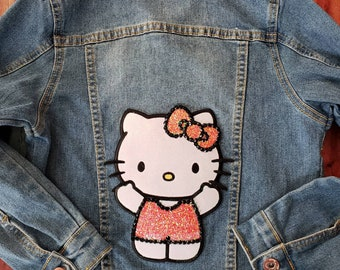 5269d148b Hello Kitty denim jacket. Girls Hello Kitty jacket. Girls denim jacket. Hello  Kitty. Girls jacket size small 7/8. Denim jacket