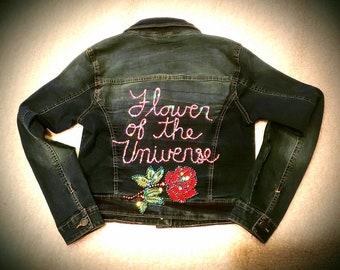 61dc9522a8b6 Floral jean jacket