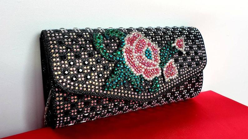 0d51e77c59 Black evening clutch purse. Rose purses. Bridal clutches.   Etsy