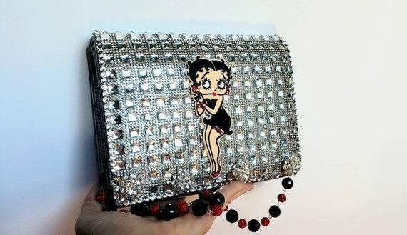 Betty Boop Evening Clutch Bag With Rhinestones Black