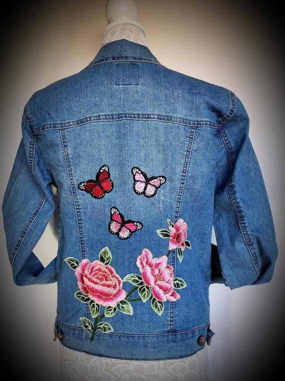 Rose Denim Jacket Blue