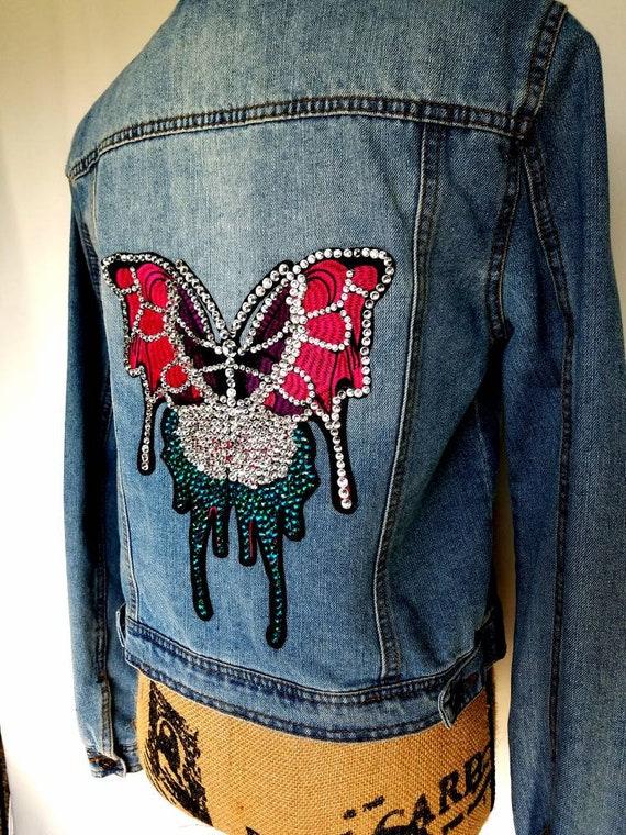 4342bdc1f Butterfly denim jacket. Medium butterfly denim jacket. 7-9 | Etsy