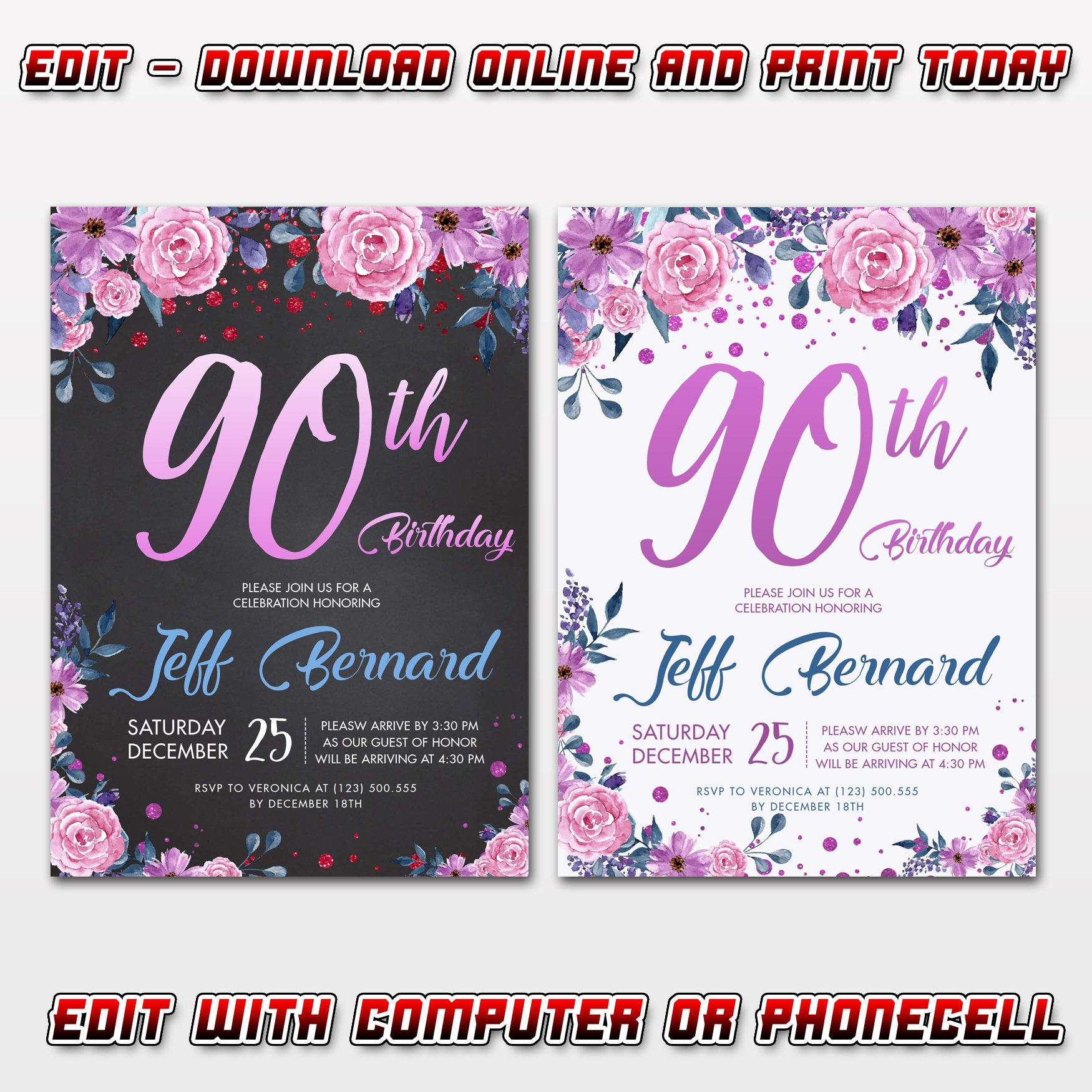 EDITABLE 90th Birthday Invitations Template Instant