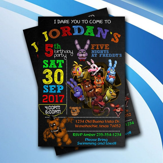 Five Nights At Freddys Birthday Party InvitationsFive