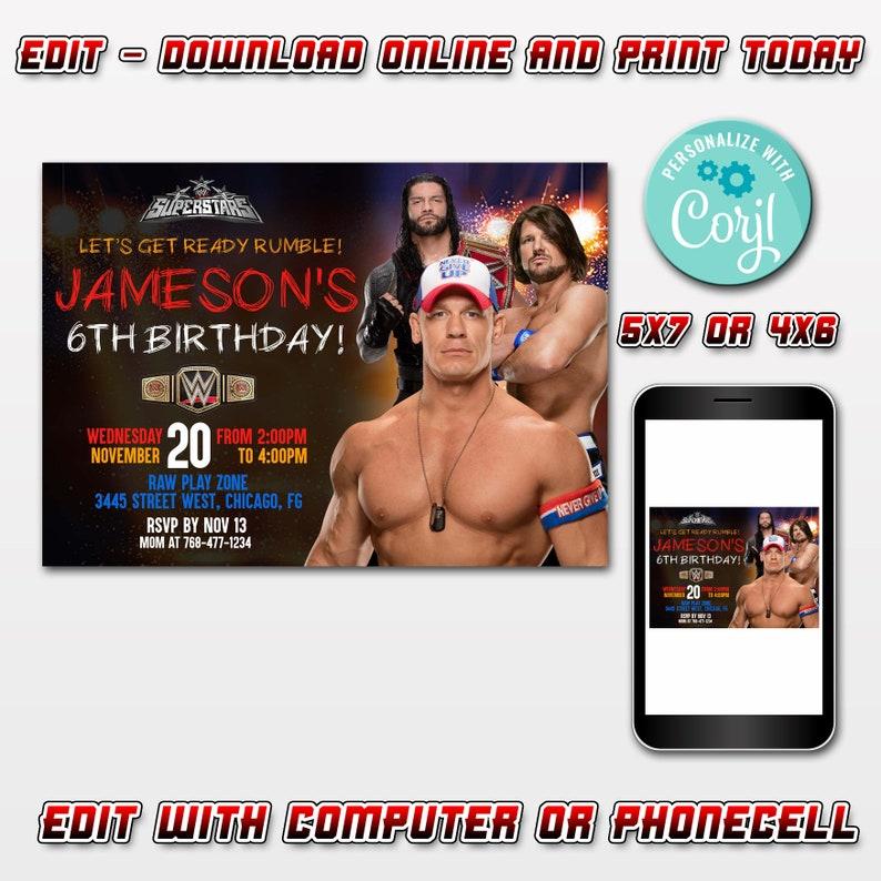 Editable Wwe Birthday Invitations Instant Downloadeditable Etsy