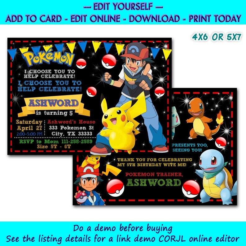 Editable Pokemon Birthday Invitation Free Thank You Card Instant Download Pokemon Party Pokemon Cards Pokemon Download Invitation Download