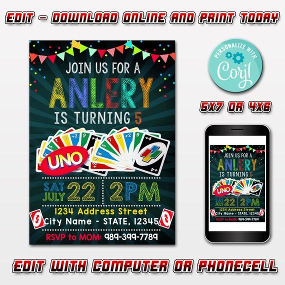 EDITABLE Uno Birthday Party Invitations,Uno Cards Birthday Party,Uno Game  Birthday Party Invitation,Editable Invitation Instant Download