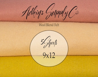 5 Felt Sheets - Wool Felt Sheets - 9x12 Felt Sheets - Wool Blend Felt - Choose Your Colors - Wool Fabric
