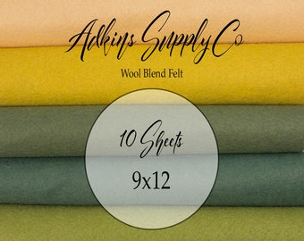 10 Felt Sheets - Wool Felt Sheets - 9x12 Felt Sheets - Wool Blend Felt - Choose Your Colors - Wool Fabric