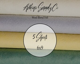 5 Felt Sheets - Wool Felt Sheets - 6x9 Felt Sheets - Wool Blend Felt - Choose Your Colors - Wool Fabric