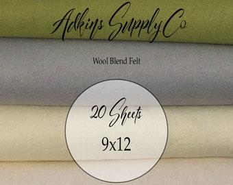 20 Felt Sheets - Wool Felt Sheets - 9x12 Felt Sheets - Wool Blend Felt - Choose Your Colors - Wool Fabric
