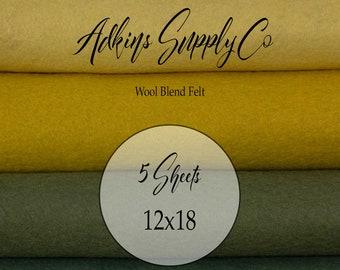5 Felt Sheets - Wool Felt Sheets - 12x18 Felt Sheets - Wool Blend Felt - Choose Your Colors - Wool Fabric