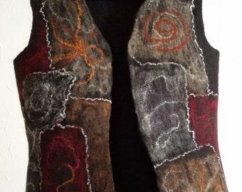 Hand-felt vest made of merino wool, grey-brown-red