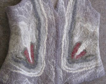 Hand-felted vest in merino wool, grey with white