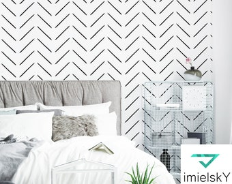 Chevron Minimalistic Pattern Herringbone Peel & Stick Wall Decal Geometric Black White Scandinavian Style Pattern Nursery #geometrical107