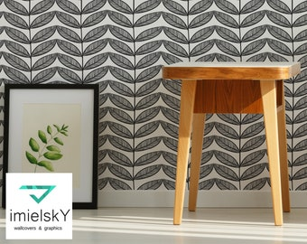 Leaf Pattern Repositionable Peel & Stick Wall Decals Geometrical Black and White Scandinavian Style Retro Pattern Nursery #geometrical105