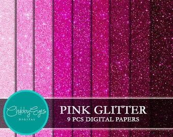 Pink Glitter Digital Papers, Scrapbook Papers Pink Sparkles Clipart  Instant Download