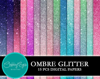 Ombre Glitter Digital Papers, Scrapbook Papers Colorful Glitter Clipart  Instant Download