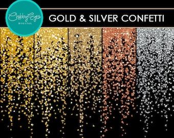Gold & Silver Glitter Confetti Borders, Digital Glitter Clip art, Star Overlay Instant Downlaod