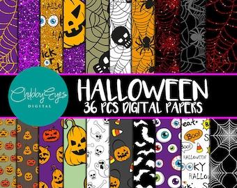 Halloween Digital Papers,  Halloween Scrapbook Papers, Glitter Papers, Pumpkin, Ghost, Spooky Papers -Instant Download