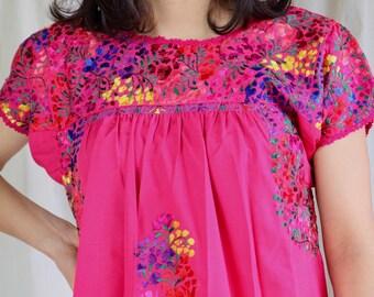 Long Mexican Floral Dress, Artisan made Maxi dress, Ethnic Folk Dress, Long Boho Summer Dress