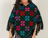 Hand Embroidered Cape Woven Poncho for Women Boho Cross Stitched wrap Spring blanket Black Shawl