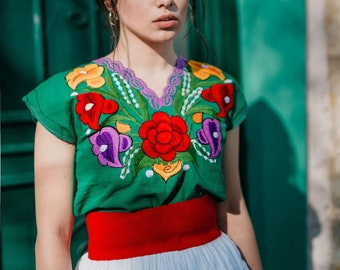 Traditional Mexican Floral Blouse, Colorful Mexican Clothing, Flirty Mexican Embroidery, Gift for her, woman blouses